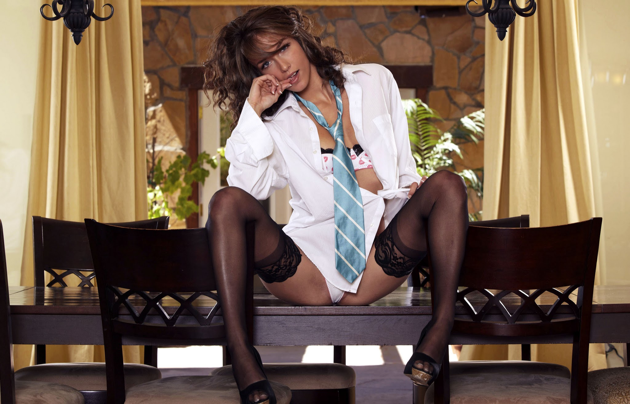 Woman in a Man's dress shirt and stockings