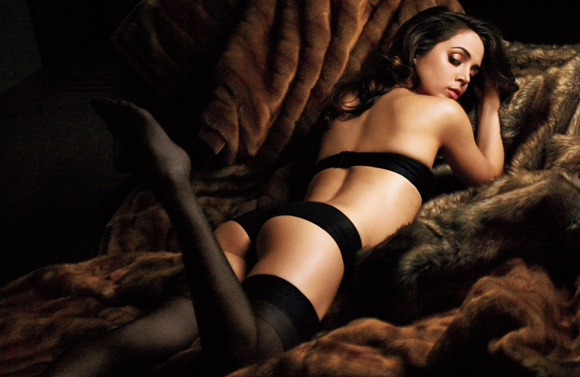 Eliza Dusku Black Stockings, Panties and Strapless Bra