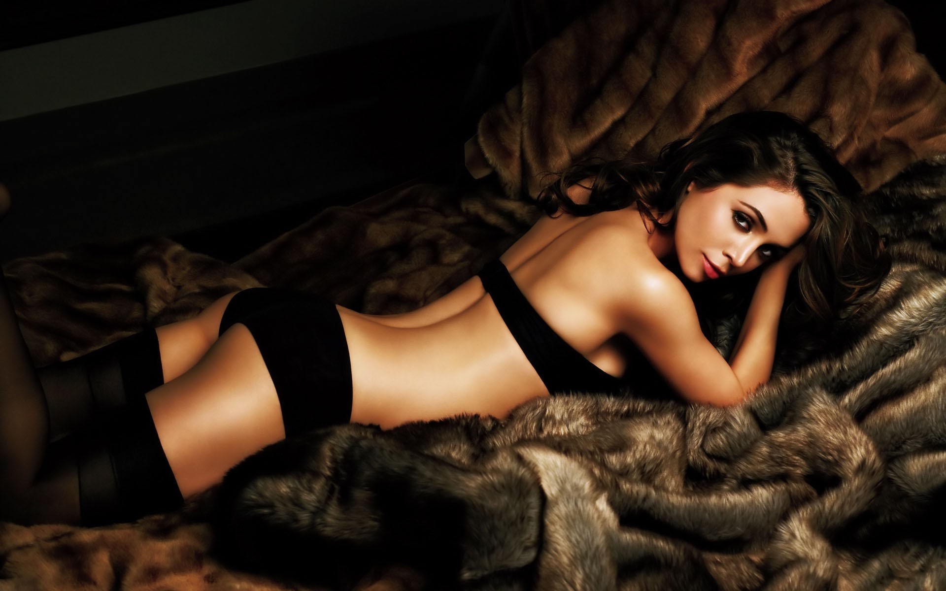Eliza Dushku Black Stockings, Panties and strapless bra