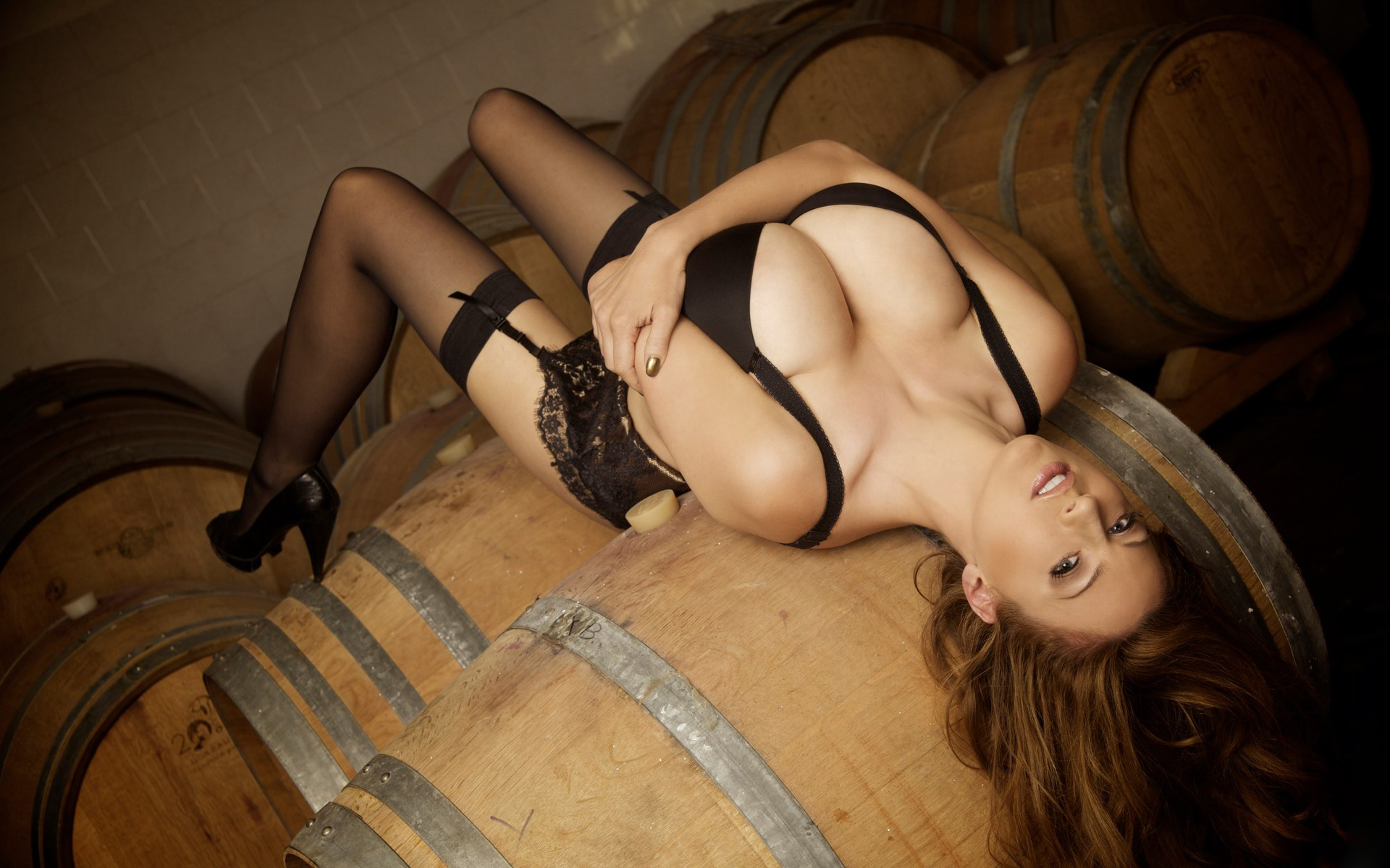 Jordan Carver Over a barrel in stockings