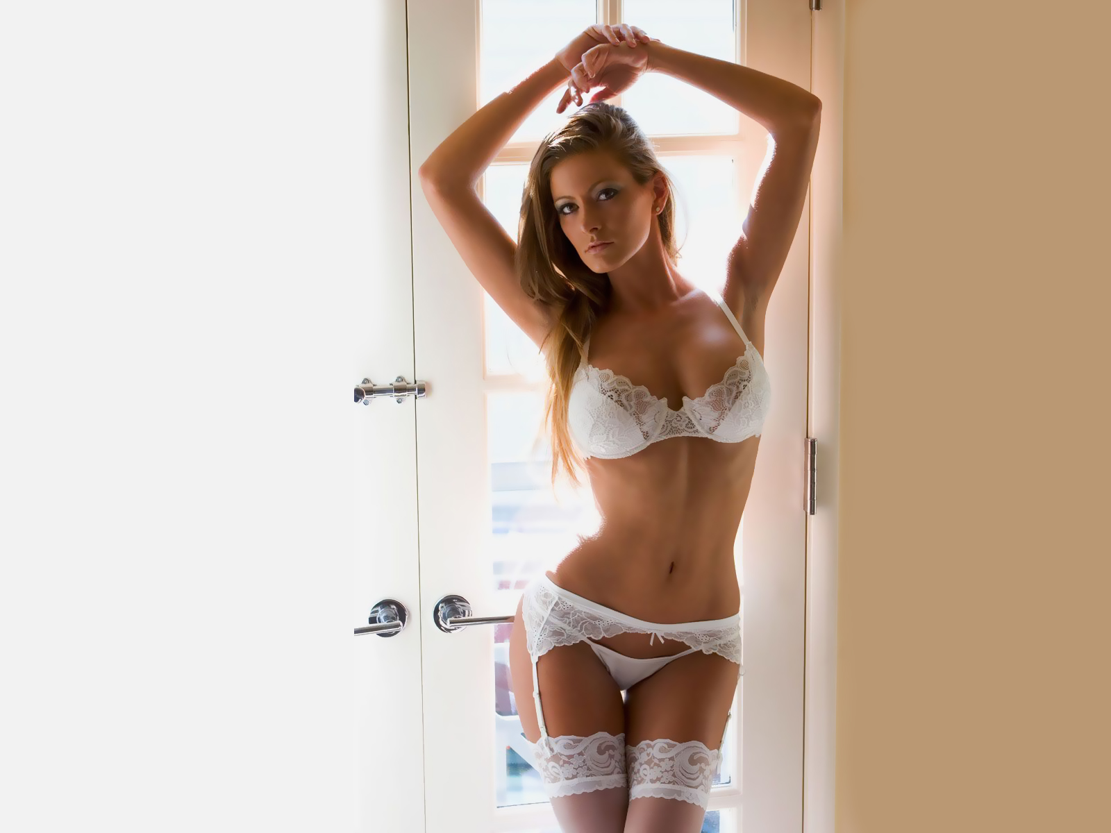 Hot Blonde in Sexy White Lingerie