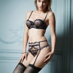 Barbara Palvin Black Bra, Stockings and Garter