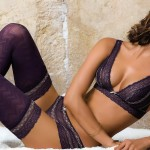 Irina Sheik Striking Purple, Bra, Panties, and Pattern Stockings