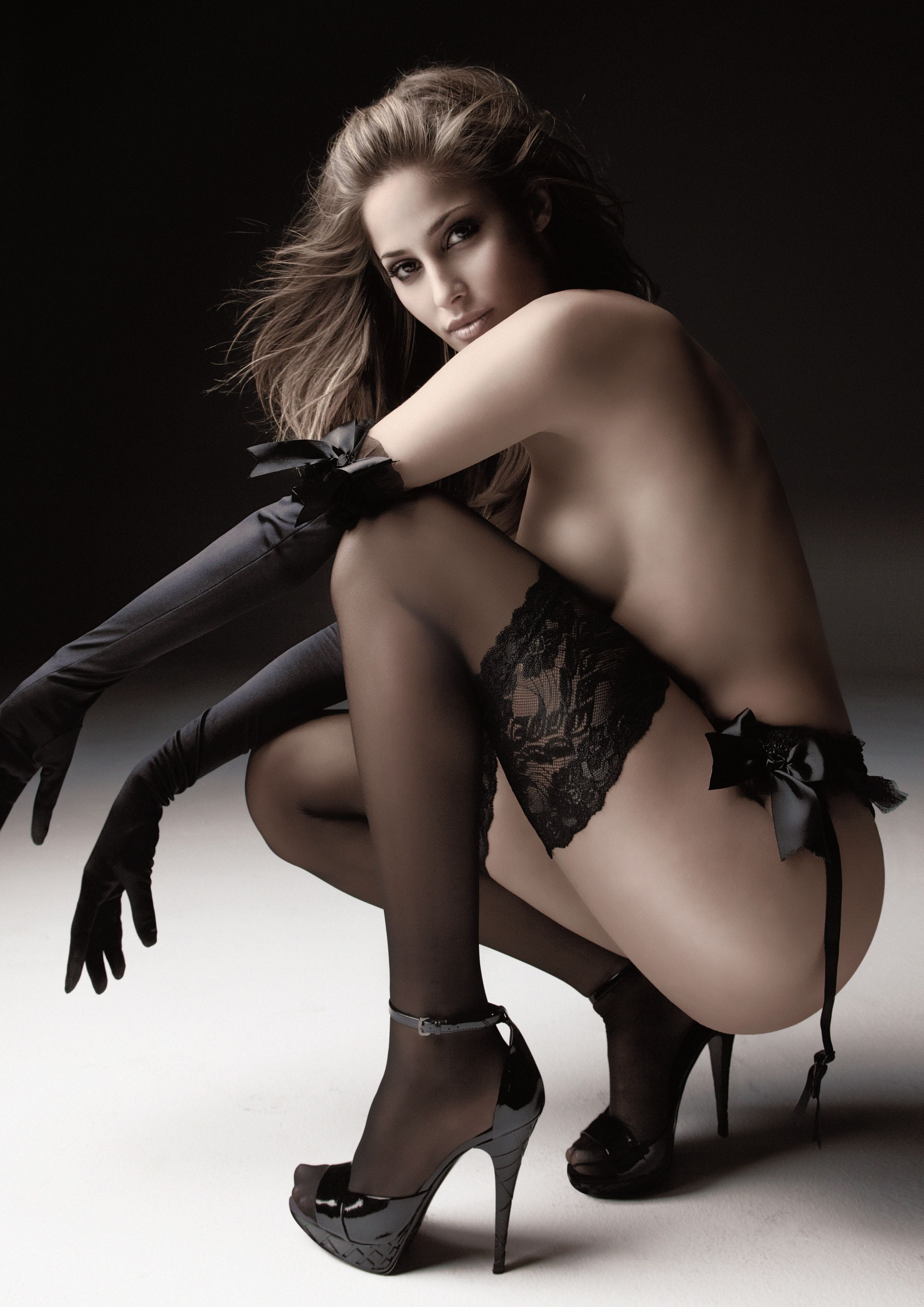 Isabela Soncini black stockings, panties, and gloves