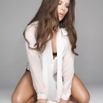 Kate Beckinsale White Shirt Black Bra and Panties